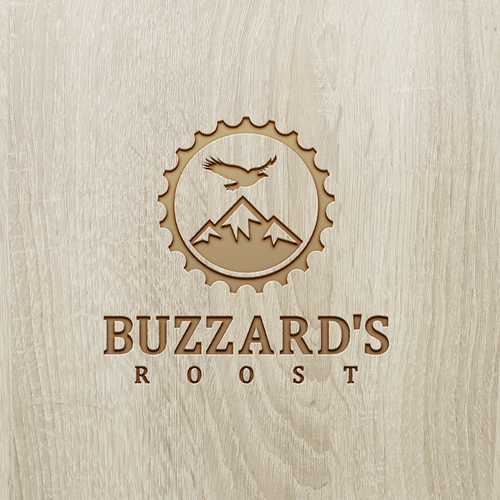 Mountain biking logo with the title 'Buzzard's Roost'