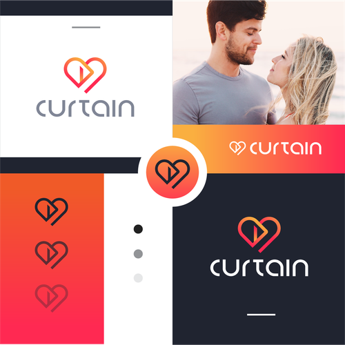 Dating app logo with the title 'Curtain'