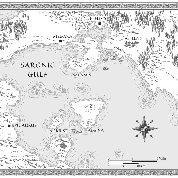 Map design with the title 'Map for historical fantasy novel'
