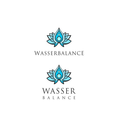 Water drop design with the title 'Wasserbalance'