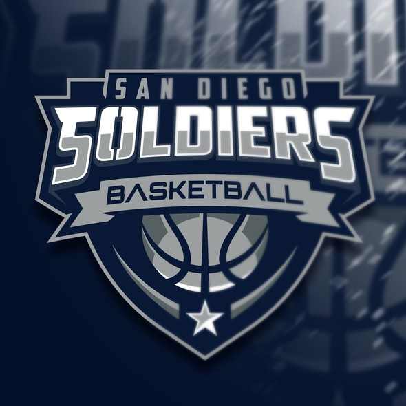 San Diego logo with the title 'San Diego Soldiers Basketball'