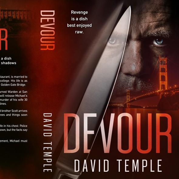 "Golden Gate Bridge design with the title '""Devour"", a Thriller by David Temple'"
