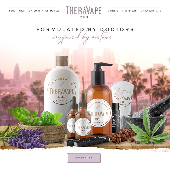 Retail website with the title 'TheraVape'