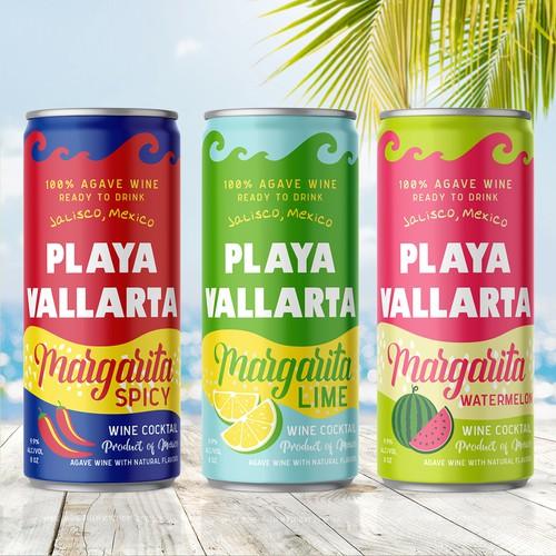 Can design with the title 'Playa Vallarta Margarita cocktails design '