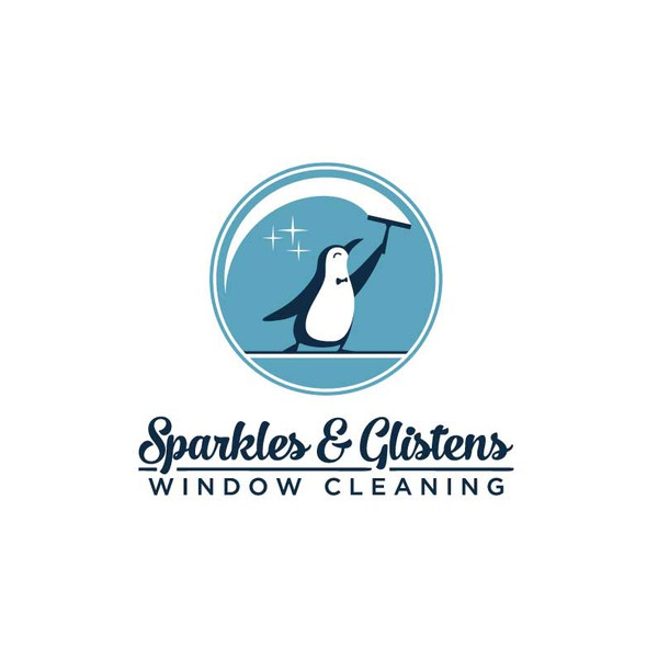Blue circle logo with the title 'Window-cleaning penguin'