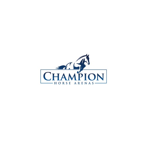 Championship logo with the title 'Bold logo concept for Champion Horse Arenas'