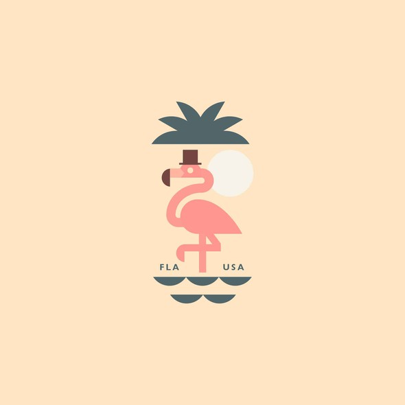 Sea illustration with the title 'flamingo'