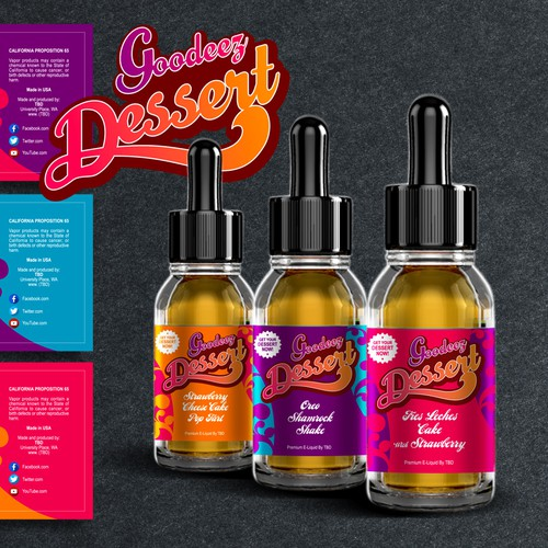 Orange label with the title 'Label Design for E-Liquid Vapor'
