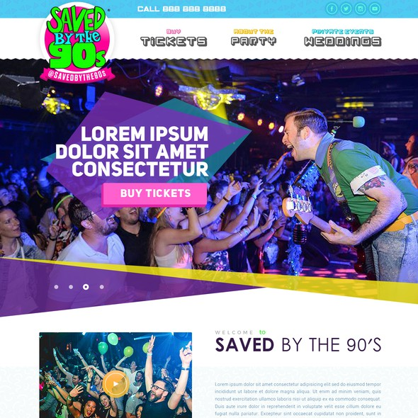 Entertainment website with the title 'Website design for a retro 90's band'