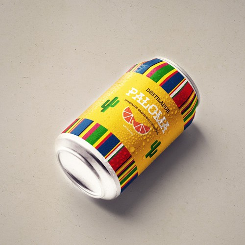 Soda can design with the title 'Label dessign for a Mexican fruit cocktail'
