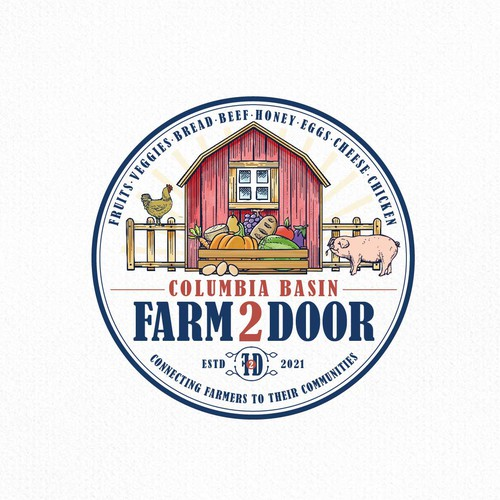 Vintage logo with the title 'Farm 2 Door'