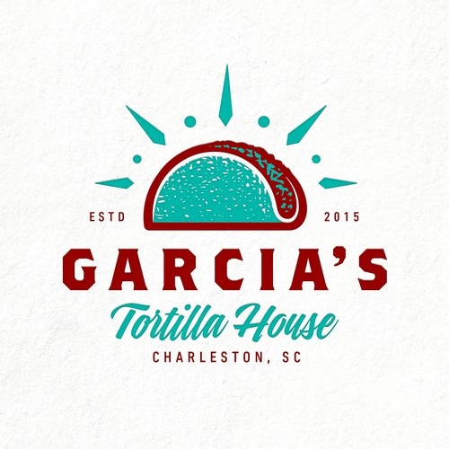 Taco design with the title 'Garcia's Tortilla House'