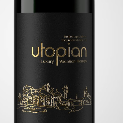 3D label with the title 'Utopian Wine Label Design'