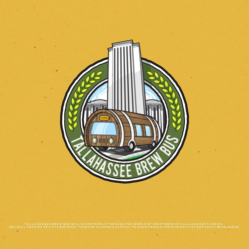 Florida design with the title 'Tallahassee Brew Bus'