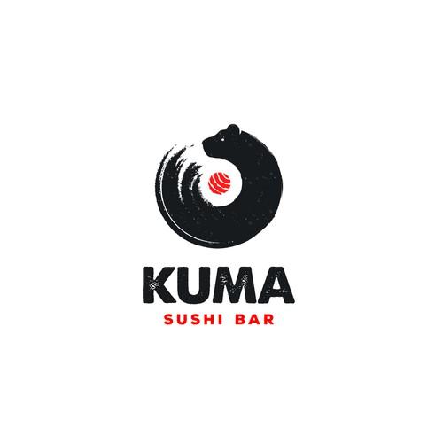Bear head logo with the title 'Kuma Sushi Bar'