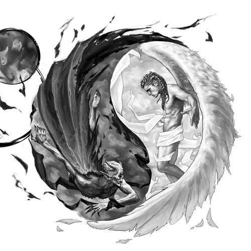 Demon design with the title 'el bien y el mal'