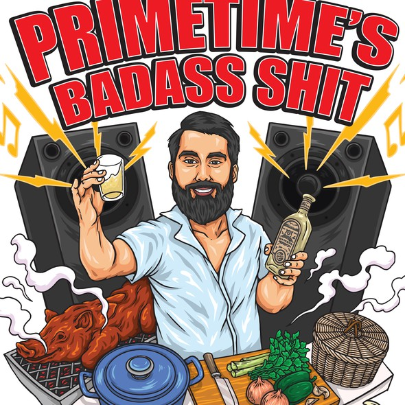 Vector design with the title 'Primetime's Badass Shit'
