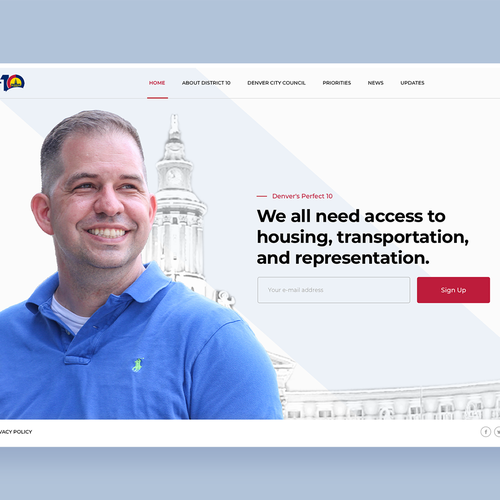 Profile design with the title 'Clean Website For Elected Politician'