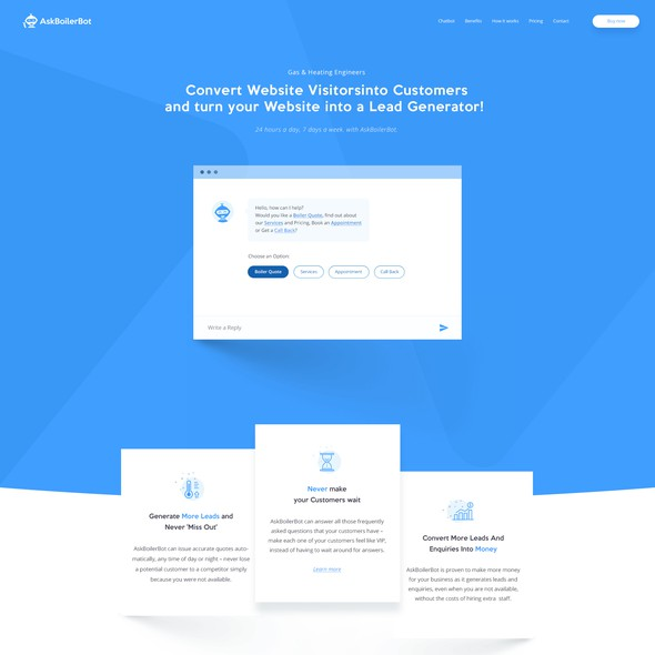 White and blue design with the title 'Chatbot Landing'