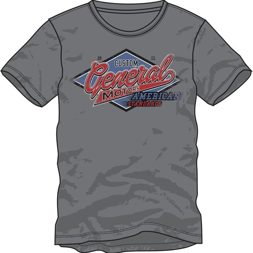 Stamp t-shirt with the title 'Create a GENERAL MOTORS garage, auto shop, vintage design for a MENS TSHIRT'