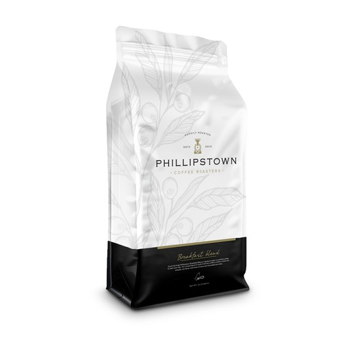 Package label with the title 'Phillipstown packaging design'