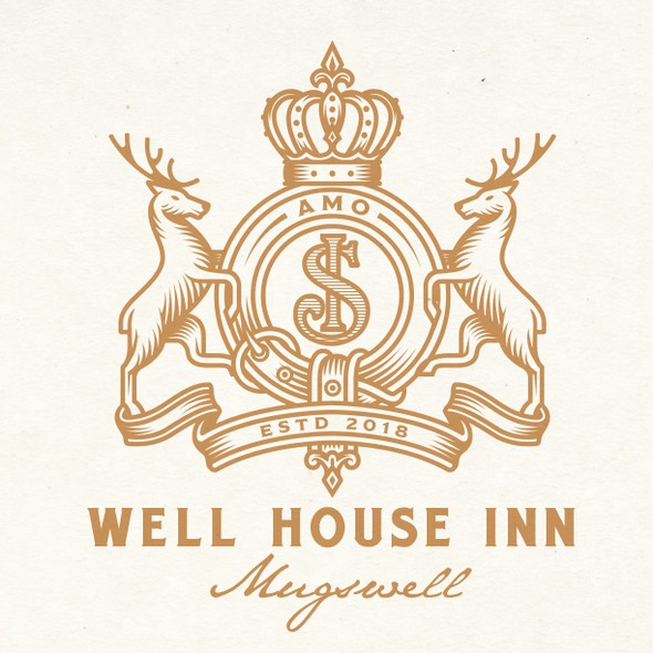 Coat of arms design with the title 'WELL HOUSE INN LOGO DESIGN'