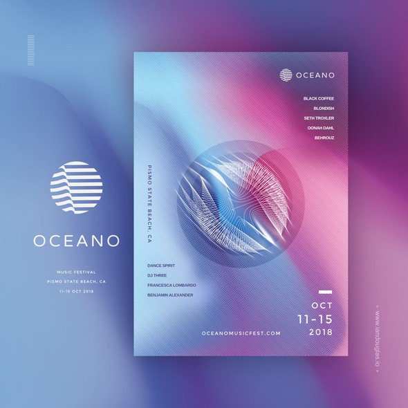 New age design with the title 'Minimalist mark and vibrant collaterals for Oceano Music Fest'