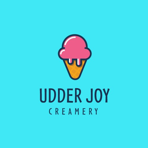 Ice logo with the title 'Fun logo for Udder Joy Cremery'
