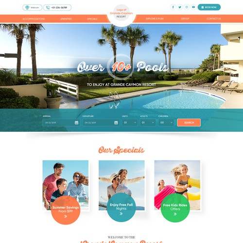 Coral design with the title 'Grande Cayman Resort website design'