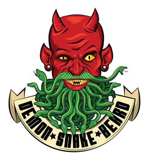 Evil design with the title 'DemonSnakeBeard'