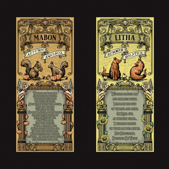 Sunflower design with the title 'Mabon and Litha labels'