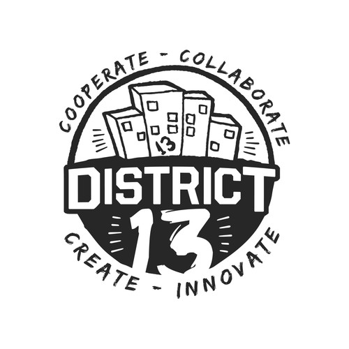 District design with the title 'Logo entry for DISTRICT 13'