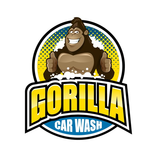 Car wash design with the title 'Gorilla Car Wash'