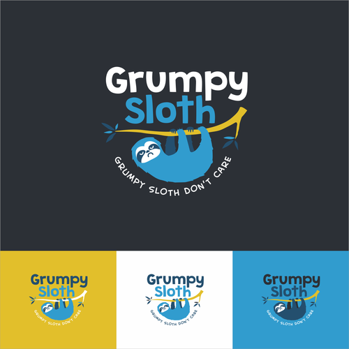 Sloth logo with the title 'Fun Cartoony Logo for All List Website'