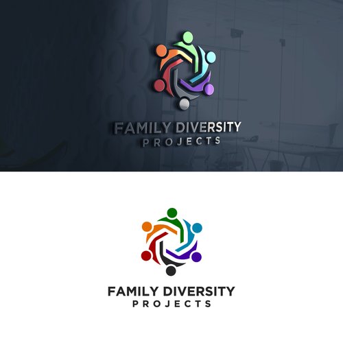Orange and purple logo with the title 'Family Diversity Projects'