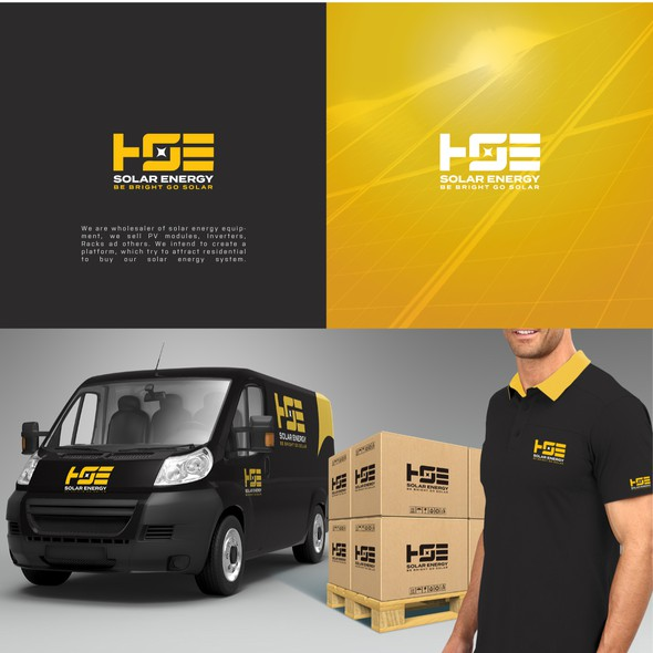 Green energy design with the title 'HSE SOLAR ENERGY LOGO AND SOCIAL MEDIA'