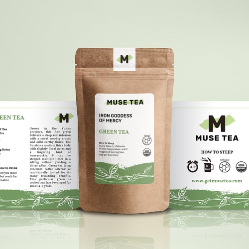 Green tea packaging with the title 'Stand-up Label for different kind of Tea product'