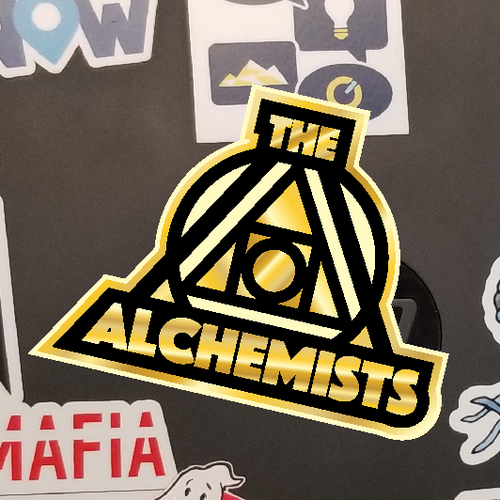 Alchemy design with the title 'Sticker entry finalist'