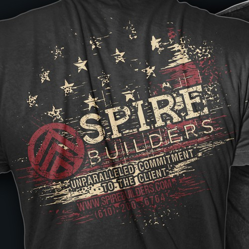 Construction t-shirt with the title 'SPIRE builders shirt'