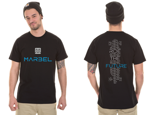 Skateboard t-shirt with the title 'T-shirt for the World's lightest electric vehicle. The Marbel Electric Skateboard.'