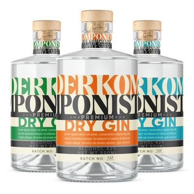Der Komponist Dry Gin Label Design