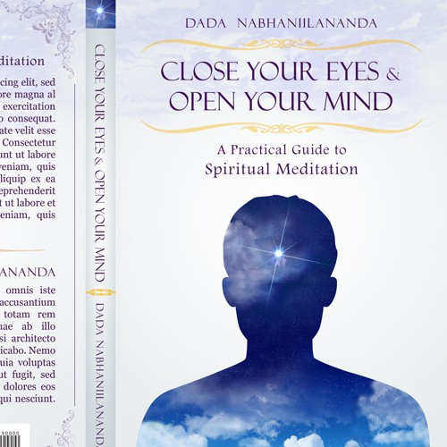 Meditation book cover with the title 'Close Your Eyes And Open Your Mind'