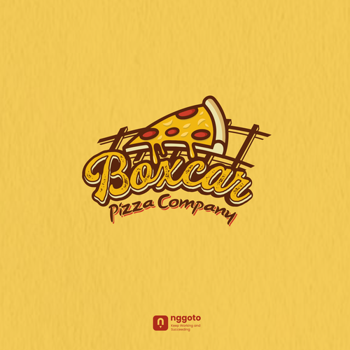 Railway design with the title 'pizza rail logo'