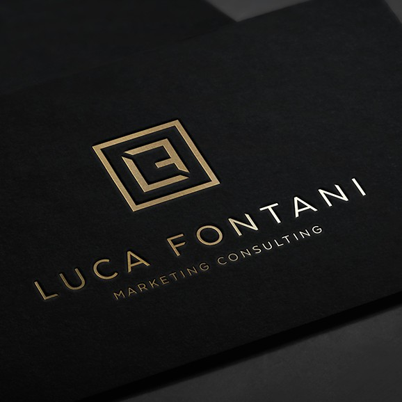 Black design with the title 'Minimal and elegant logo for a consultant'
