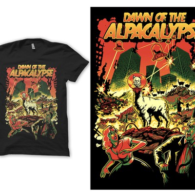 T shirt design Dawn of the Alpacalypse