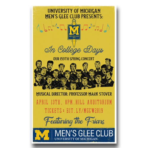 Michigan design with the title 'University of Michigan Men Glee Club Spring Concert Poster'