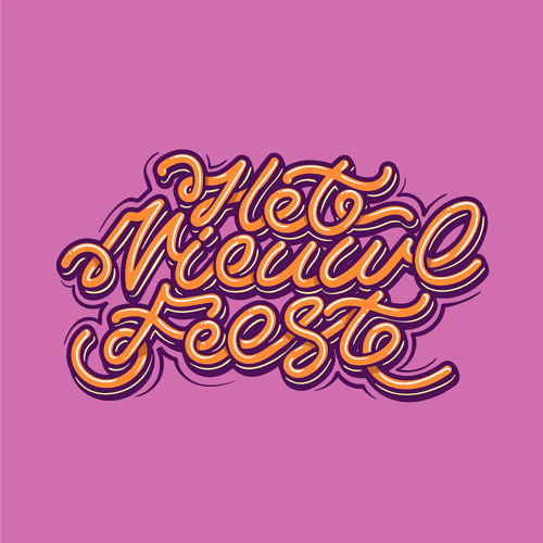 Graffiti t-shirt with the title 'Het Nieuwe Feest'