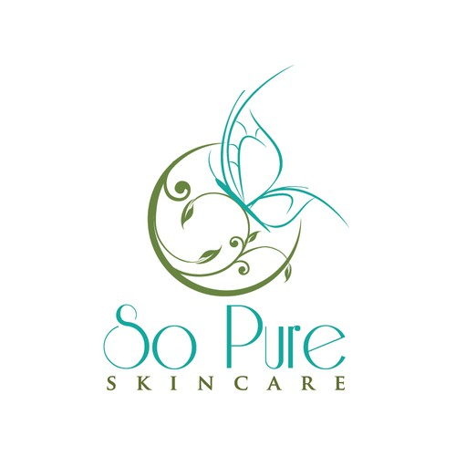 Green logo with the title 'skincare - elegant butterfly logo'