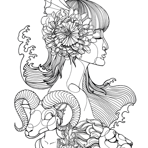 Koi design with the title 'Whoole sleeve Tatoo design with asian woman, koi. lion and capricon'
