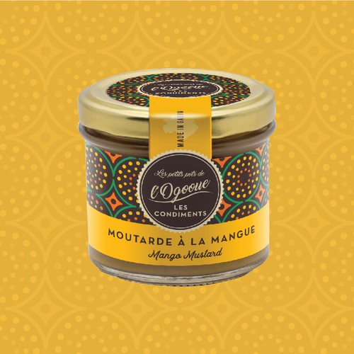 Jar label with the title 'African Mustards product range'